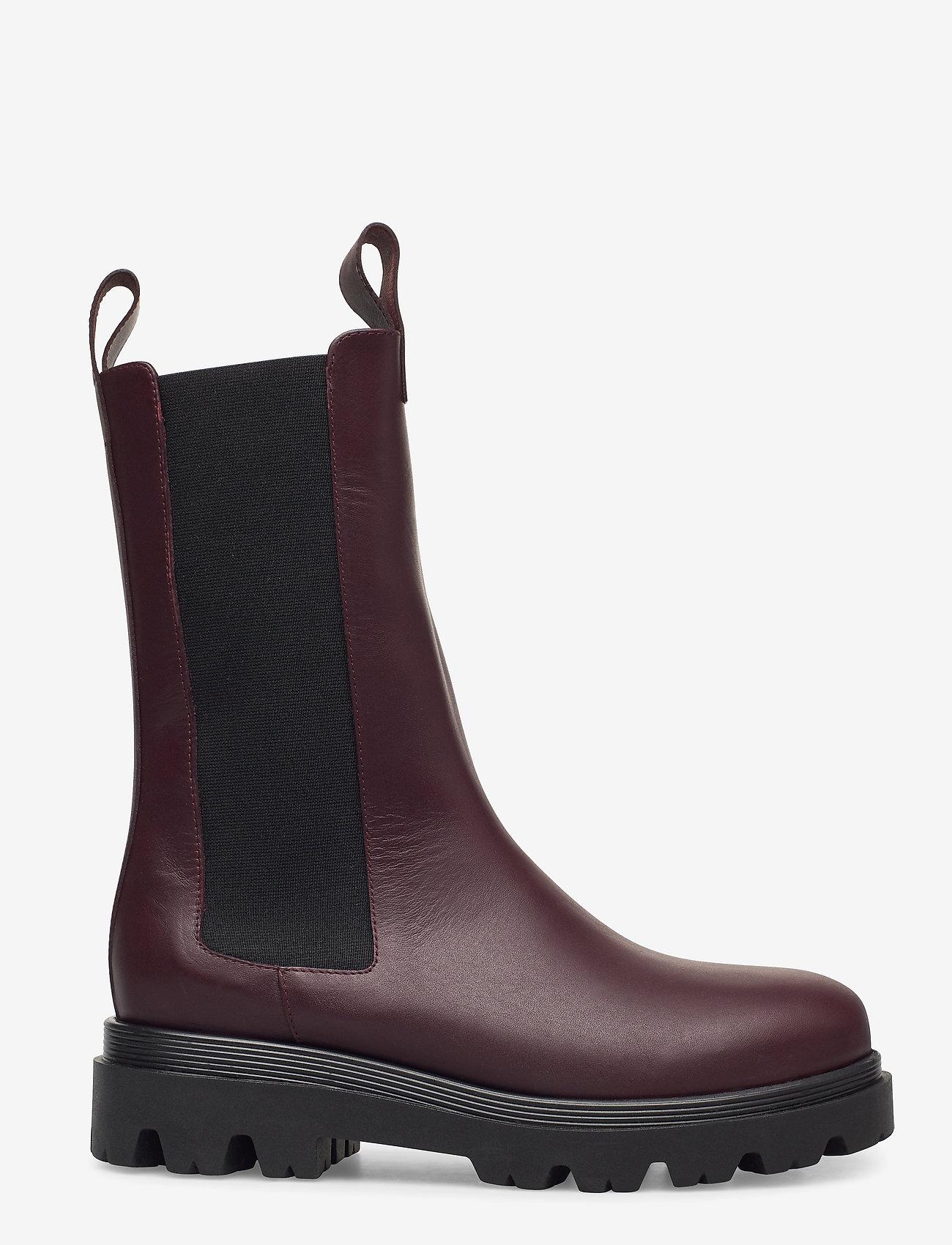 Flattered - Lia Black Leather - platte enkellaarsjes - burgundy - 1