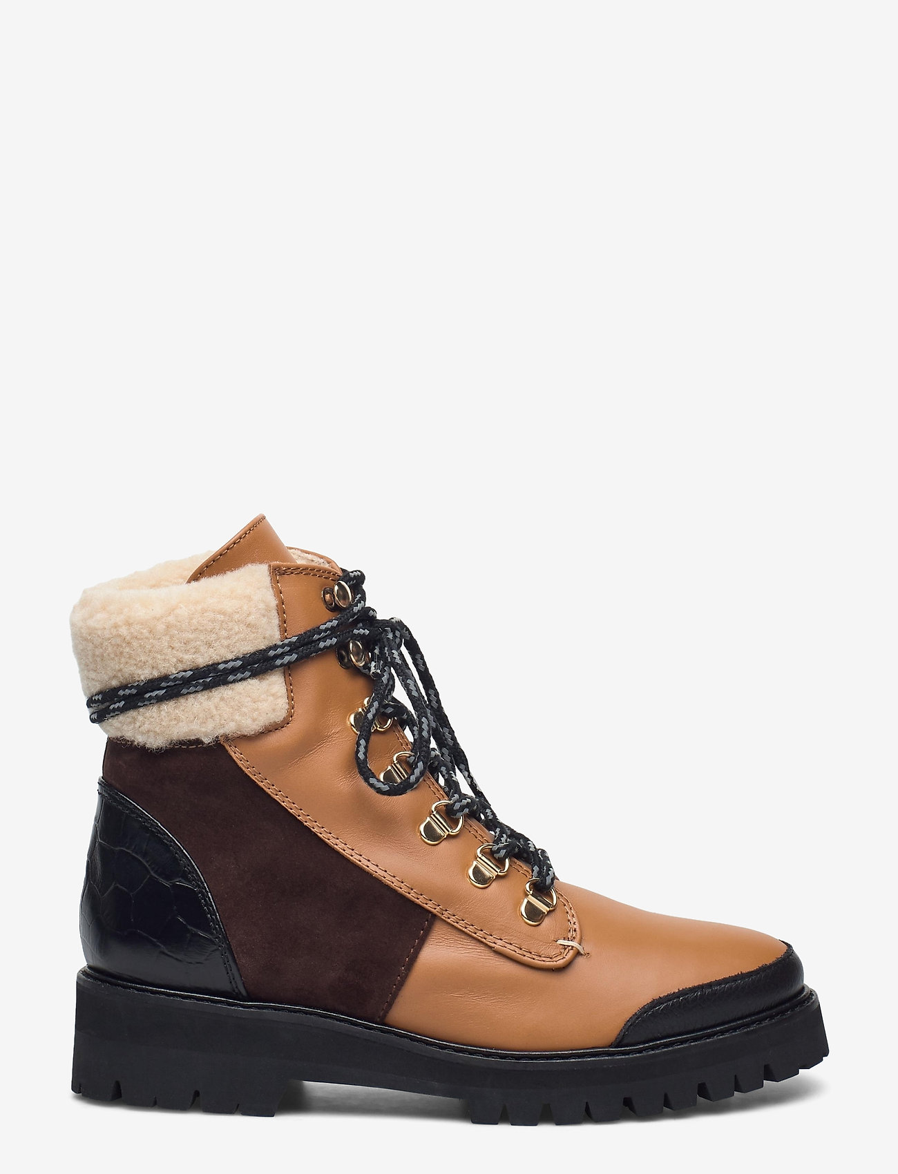 Flattered - Selma Pecan Reptile Leather / Creme Suede / Honey Leather - flat ankle boots - cognac - 1