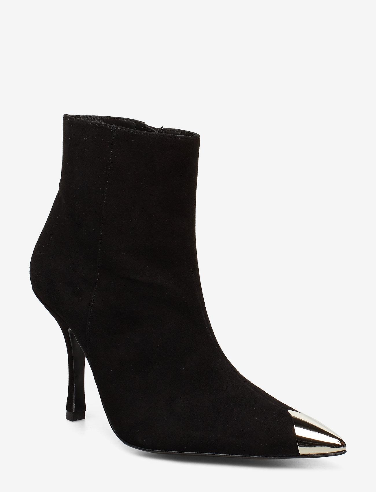 Flattered - Viktoria Radar Suede / Silver Toe Cap Boot - talon haut - black