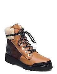 Selma Pecan Reptile Leather / Creme Suede / Honey Leather - COGNAC