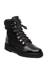 Selma Patent Nappa / Suede / Grained Nappa Boot - BLACK