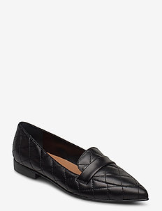 Alexandra Black Quilted Leather - instappers - black