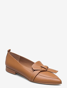 Ally Black Grained Leather - loafers - cognac