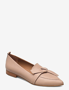 Ally Black Grained Leather - loafers - sand