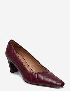 Iggy Burgundy Leather Quilted - classic pumps - burgundy