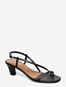 Emma Black Nappa - sandały na obcasie - black