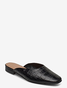 Malva Black Croco Leather - mules & slipins - black
