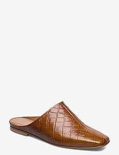 Noa Cognac Croco Leather - mules & slipins - cognac