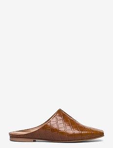 Noa Cognac Croco Leather - muiltjes & instappers - cognac