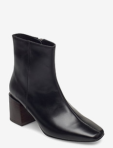 Ida Black Leather - ankelstøvler med hæl - black