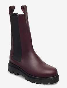 Lia Black Leather - flat ankle boots - burgundy
