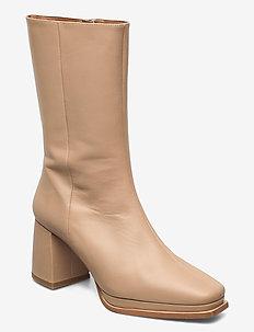 Lisa Sand Leather - ankelstøvler med hæl - sand