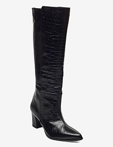 Tea Black Croco Leather - long boots - black