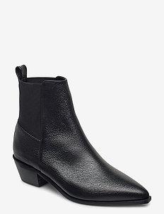 Willow Black Grained Leather - ankelstøvler med hæl - black