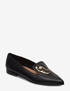 Alexa Black Leather / Oyster - loafers - black