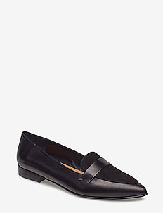 Alexandra II Sand Reptile / Black Suede Nappa - loafers - black