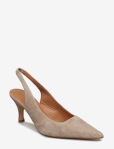 Franchesca Black Suede - obcasy typu slingback - beige