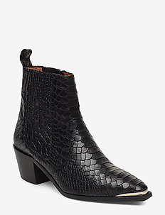 Rebecca Snake Nappa Boot - BLACK