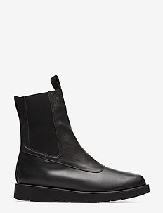 Ursula Leather - flat ankle boots - black