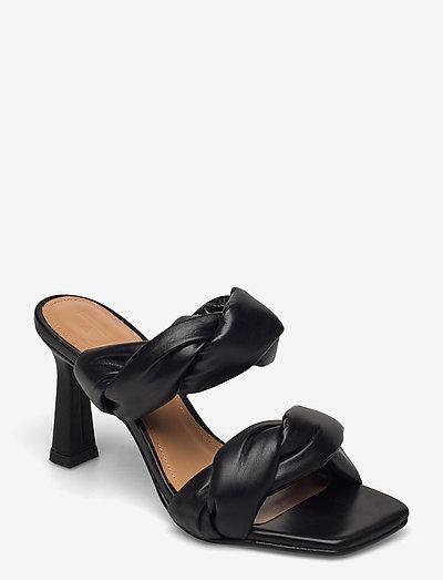 River Black Leather - heeled sandals - black