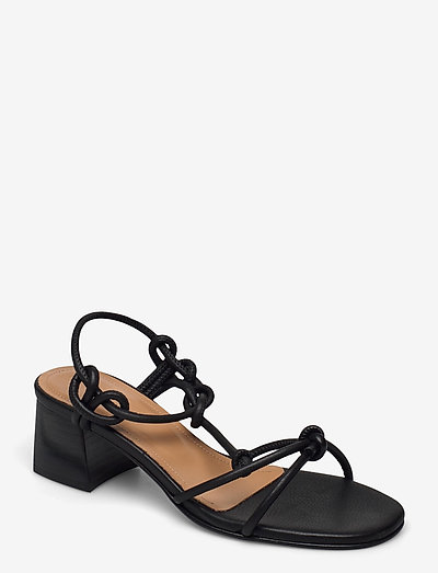 Edith Black Leather - heeled sandals - black