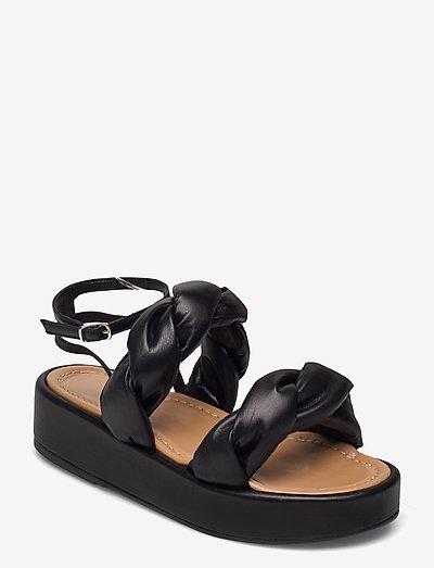 Haven Black Leather - platte sandalen - black