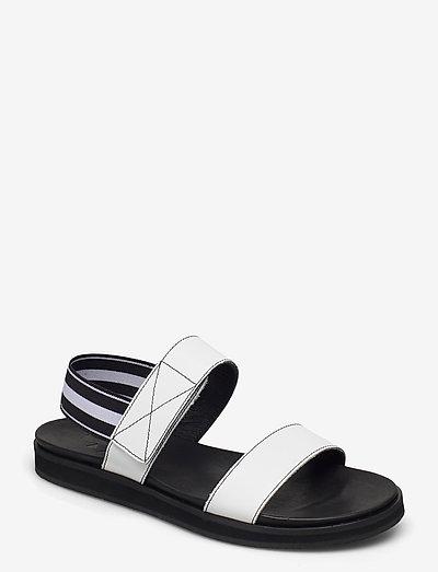 Lissy Black Leather - platte sandalen - white