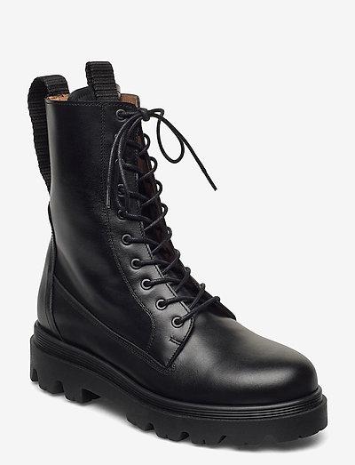 Lovi Black Leather - flat ankle boots - black