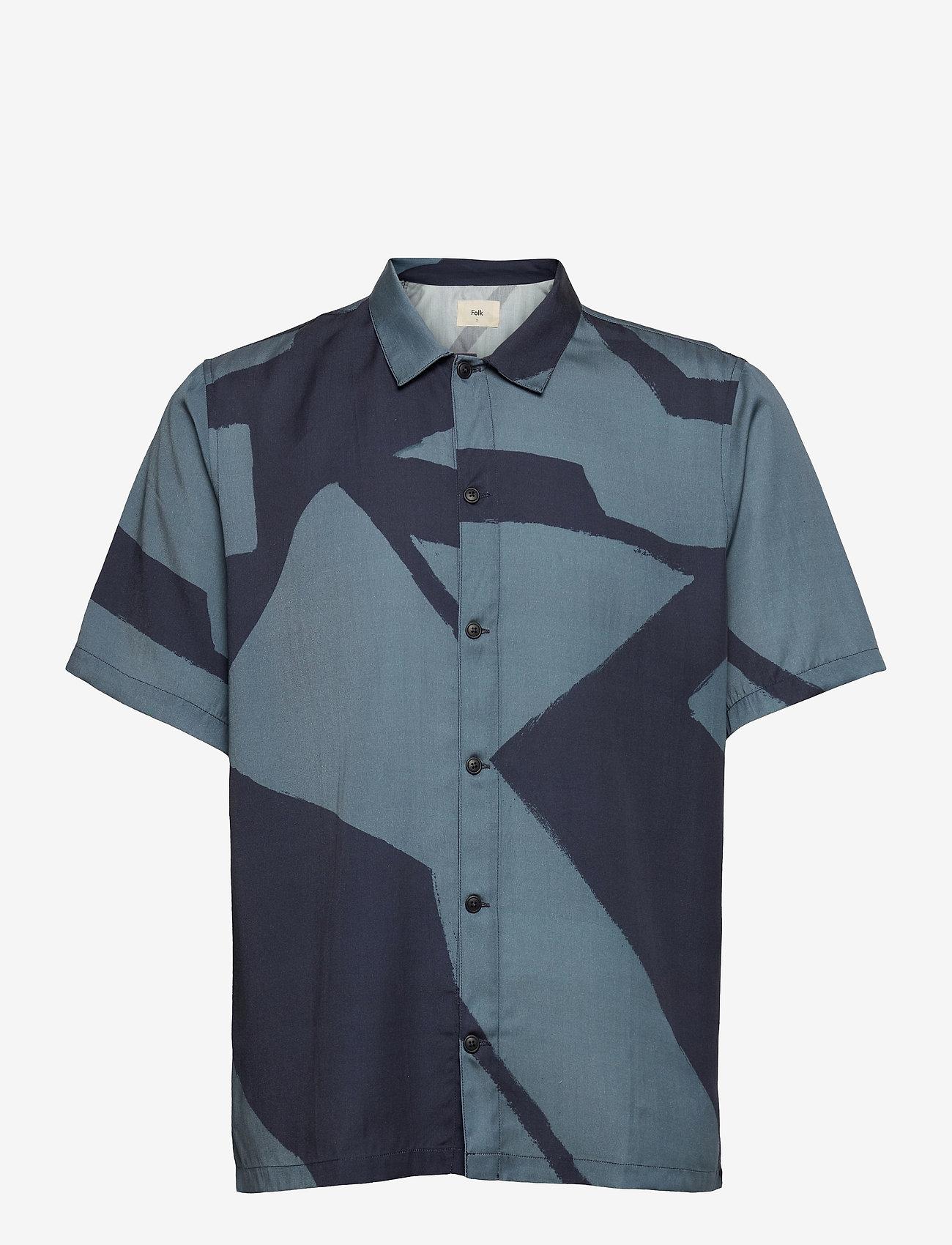 Folk - GABE SHIRT - chemises à manches courtes - border print navy - 0