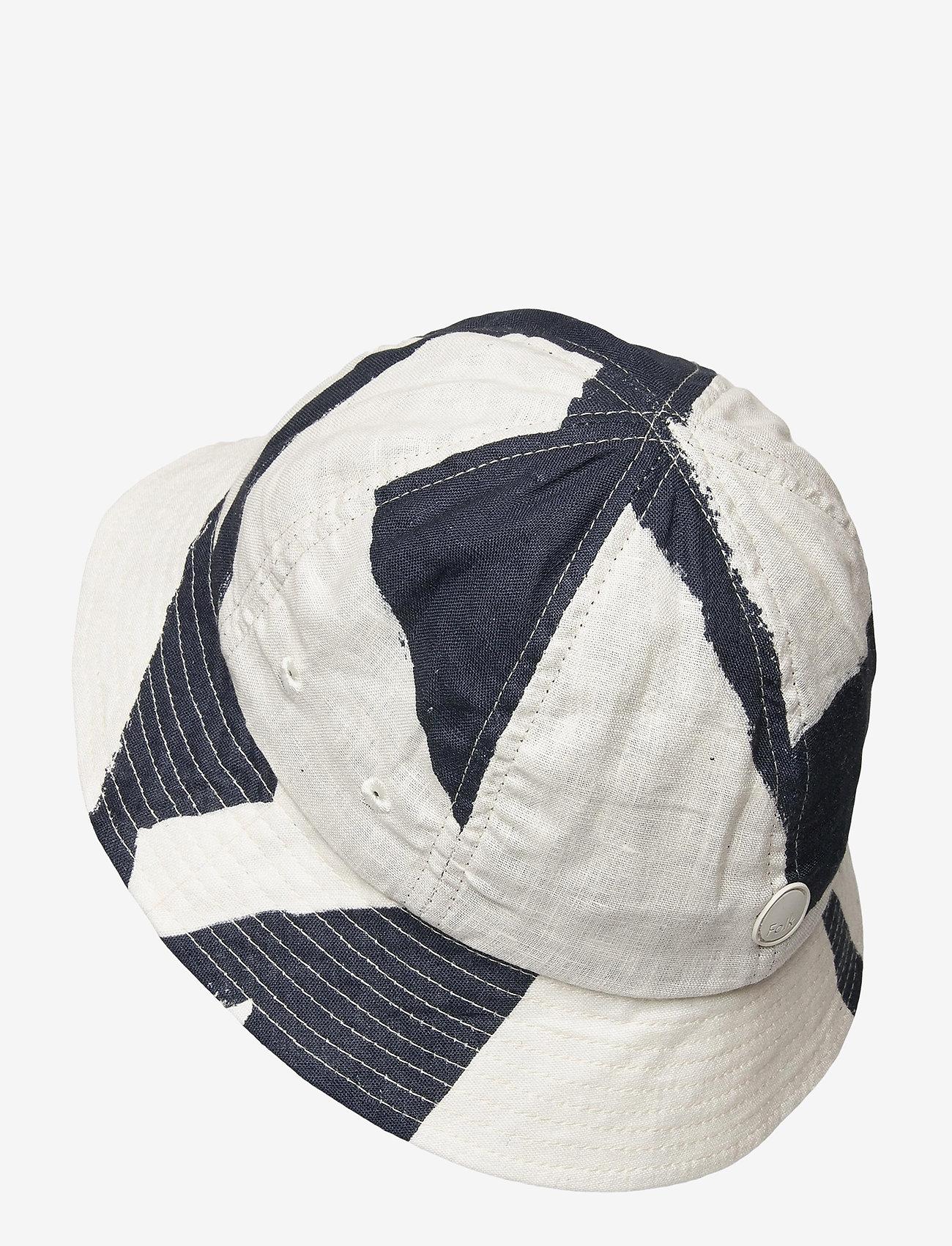 Folk - BUCKET HAT - bonnets & casquettes - border print navy ecru - 1
