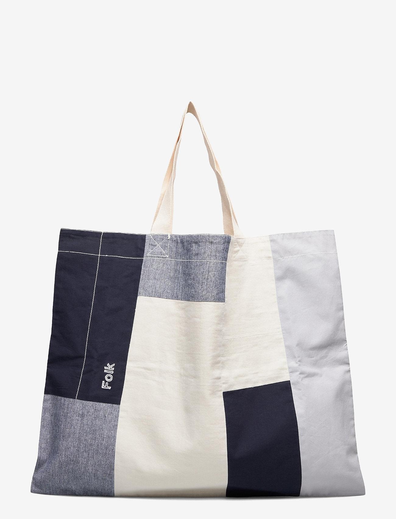 Folk - PATCHWORK SEOUL TOTE - shoppers - dusty blue mix - 0
