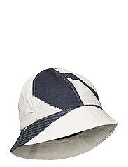 BUCKET HAT - BORDER PRINT NAVY ECRU