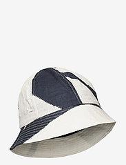 Folk - BUCKET HAT - bonnets & casquettes - border print navy ecru - 0