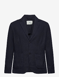 COTTON LINEN BLAZER - single breasted blazers - navy
