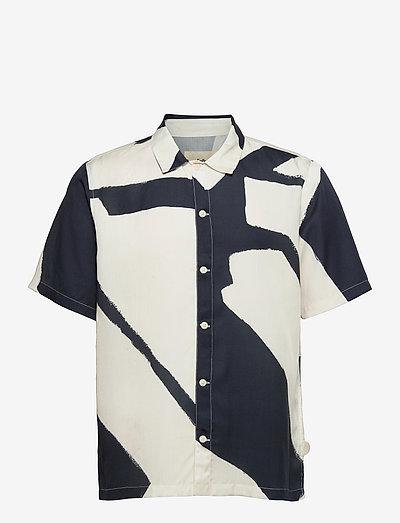 GABE SHIRT - oxford shirts - border print navy ecru