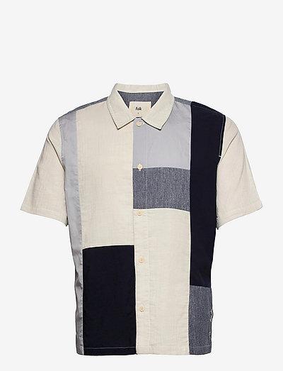 PATCHWORK SEOUL SHIRT - chemises de lin - dusty blue mix