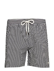 OCEAN SWIM SHORTS - BLACK/WHITE - BLACK/WHITE STRIPED