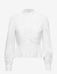 DOUBLE POCKET PEPLUM BLOUSE - BLANC