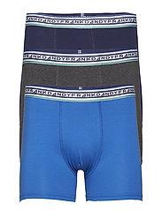 3P. Solid Boxer w Stripe Navy - BLUE/DK GREY MELANGE/DK NAVY