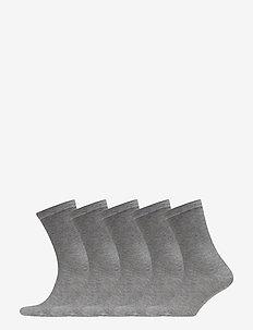 5P Bamboo Solid Crew Sock - GREY MELANGE