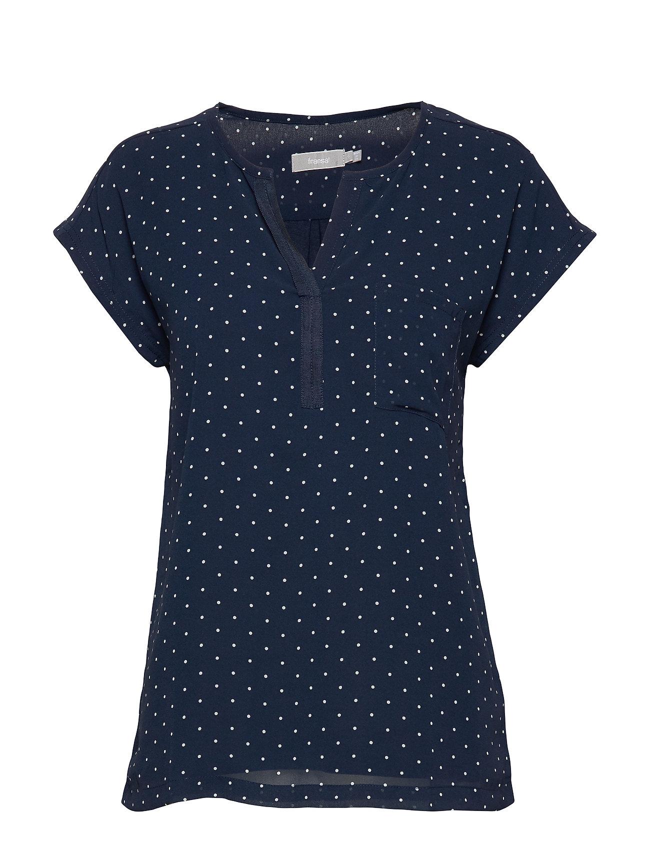 Image of Zawov 8 Top Blouses Short-sleeved Blå Fransa (3339884387)