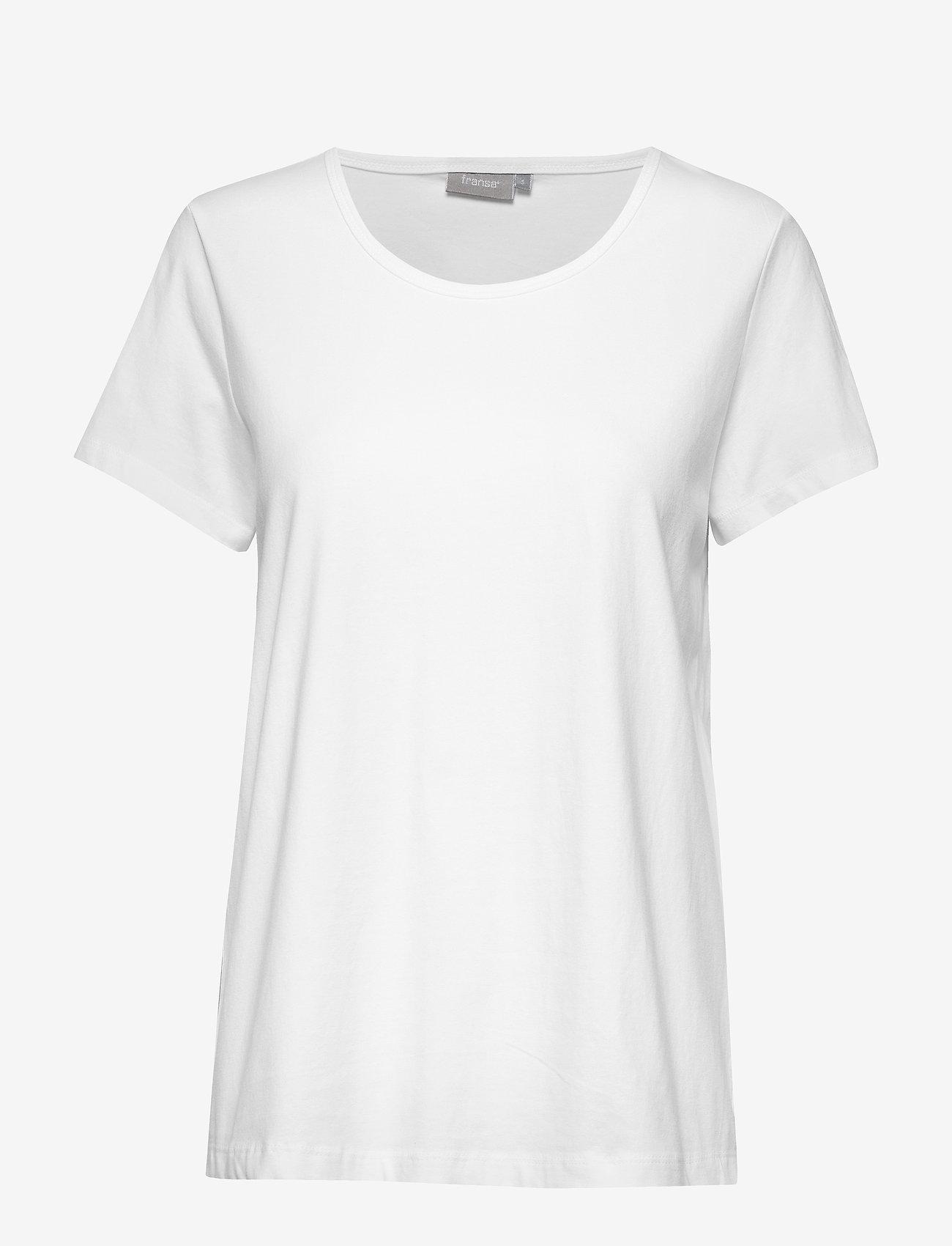 Fransa - Zaganic 2 T-shirt Solid - basic t-shirts - white
