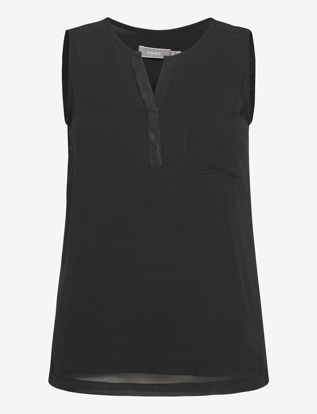 Fransa - Zawov 3 Top - sleeveless tops - black - 0