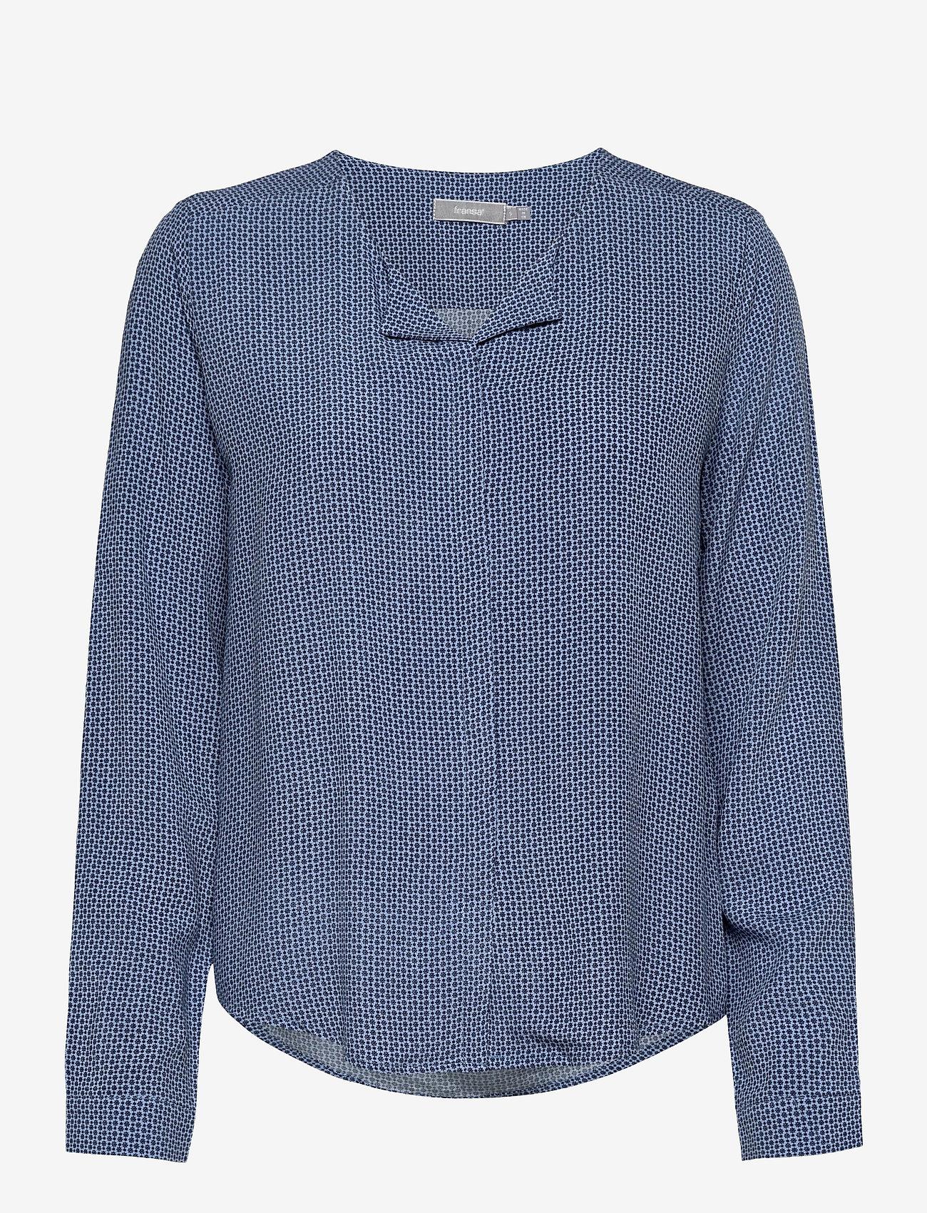 Fransa - FRHAZAVISK 1 Shirt - blouses met lange mouwen - brunnera blue mix - 0