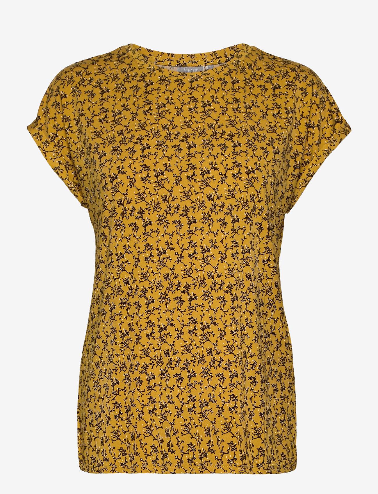 Fransa - FRLESEEN 1 T-shirt - t-shirts - harvest gold mix - 0