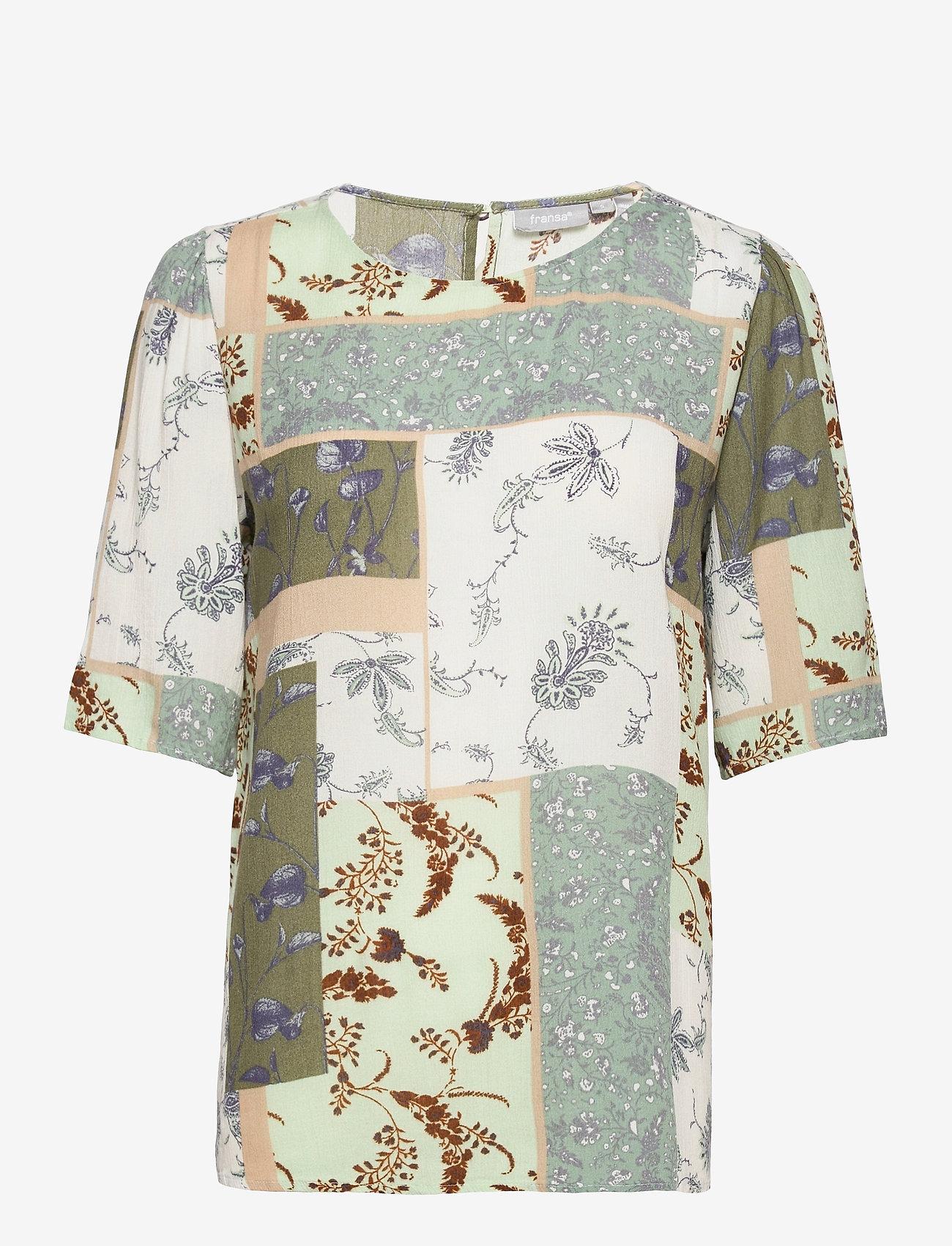 Fransa - FRVACRINKLE 3 Blouse - blouses met korte mouwen - aqua foam mix - 0