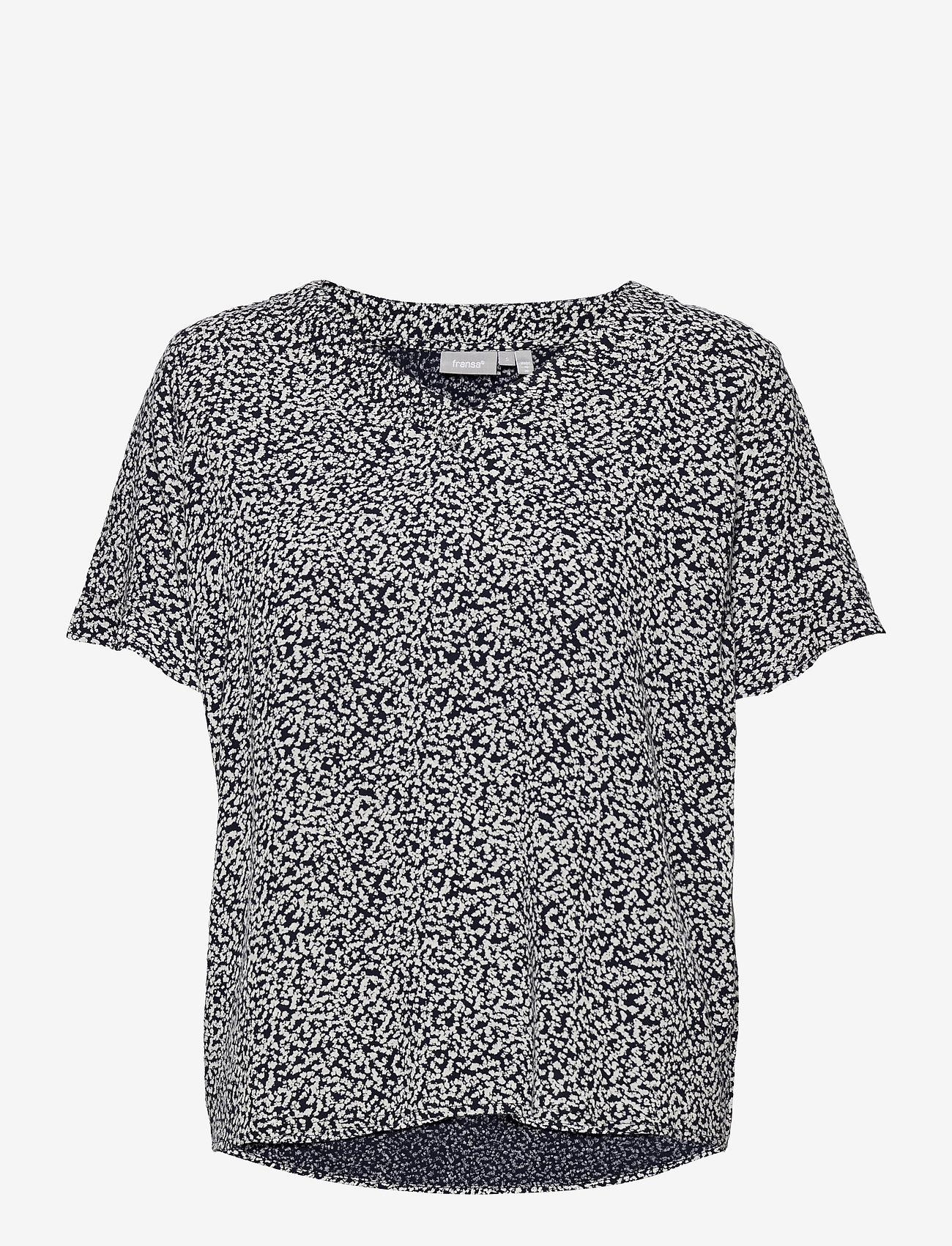 Fransa - FRVARILLI 2 Blouse - blouses met korte mouwen - navy blazer mix - 0