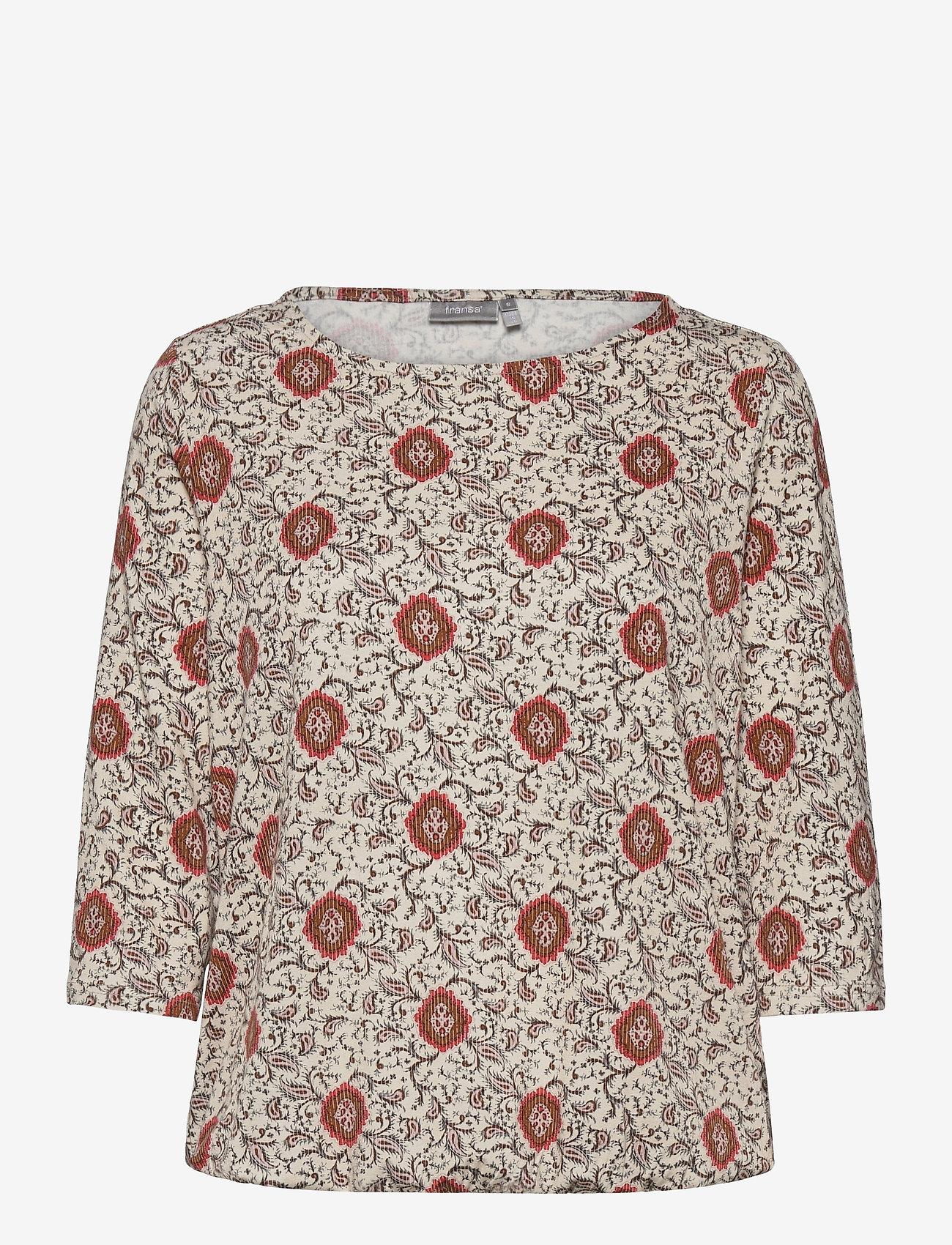 Fransa - FRPEFLORAL 1 T-shirt - pitkähihaiset t-paidat - red flower mix - 0