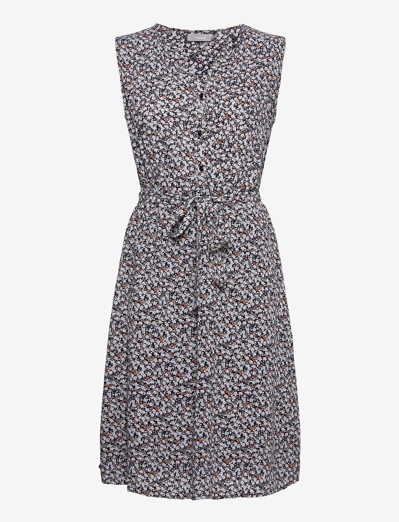 Fransa - FRALCRINKLE 3 Dress - zomerjurken - navy blazer with flowers - 0