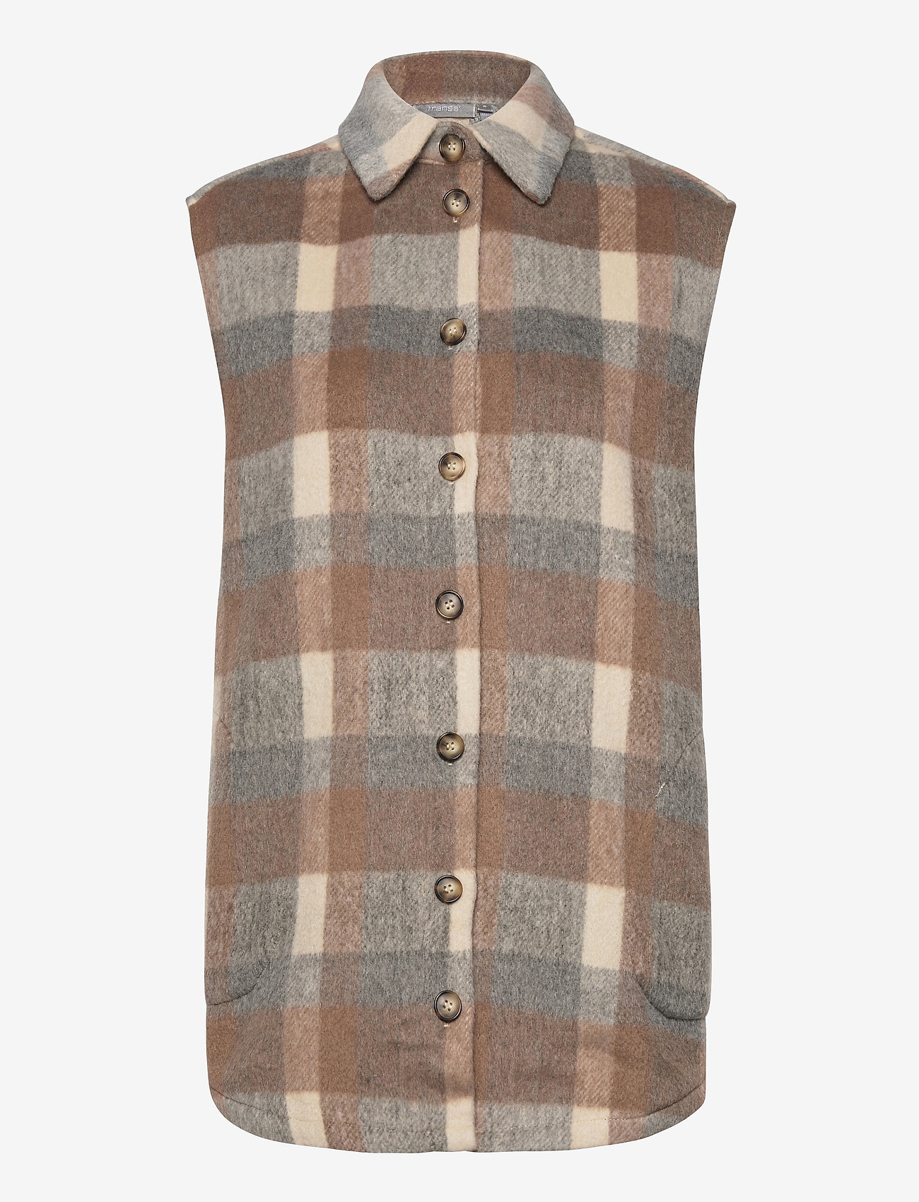Fransa - FXTACHECK 3 Waistcoat - gevoerde vesten - oxford tan mix - 0